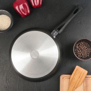 Сковорода «Премьера», d=28 см, стеклянная крышка, ручка soft-touch, антипригарное покрытие