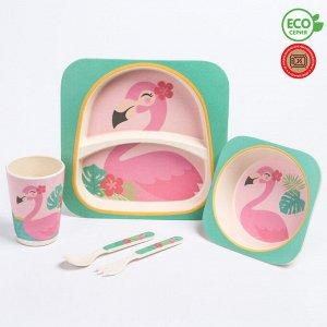 Набор детской бамбуковой посуды «Фламинго», тарелка, миска, стакан, приборы, 5 предметов