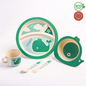Набор детской бамбуковой посуды «Китенок»,тарелка, миска, кружка, приборы, 5 предметов 4591123
