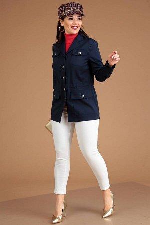 Куртка Куртка Мода Юрс 2426 синий  Состав ткани: Спандекс-4%; Хлопок-63%; ПА-33%;  Рост: 164 см.  Современная демисезонная женская парка прямого силуэта, на контрастной подкладке, с кулиской по линии