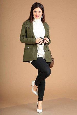 Куртка Куртка Мода Юрс 2426 хаки  Состав ткани: Спандекс-4%; Хлопок-63%; ПА-33%;  Рост: 164 см.  Современная демисезонная женская парка прямого силуэта, на контрастной подкладке, с кулиской по линии