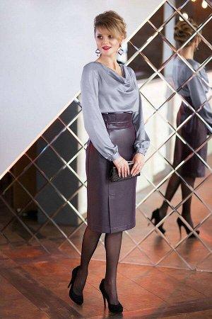 Блуза Блуза Euro Moda 245/1 платина  Состав: ПЭ-100%; Сезон: Осень-Зима Рост: 164  Блуза женская прилегающего силуэта, выполнена из мягкого сатина. Горловина блузы выполнена в виде конструктивного эл