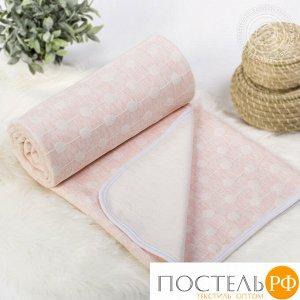 2285 Одеяло-покрывало трикотажное 180*200 Ожерелье розовое