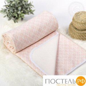 2285 Одеяло-покрывало трикотажное 180*200 Ромбы розовые