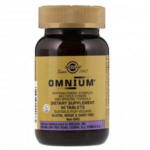 Solgar, Omnium, комплекс фитонутриентов, формула с витаминами и минералами, 60 таблеток