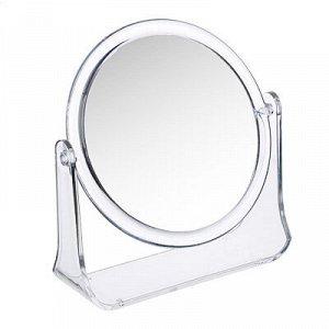 ЮниLook Зеркало настольное круглое, пластик, стекло, d14см, прозрачный