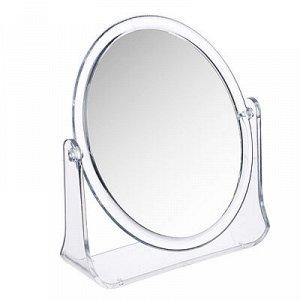 ЮниLook Зеркало настольное овальное, пластик, стекло, 15х18см, прозрачный