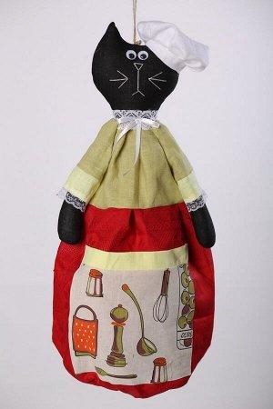 Черный кот ОПИСАНИЕ Вашему вниманию предлагается добрая и милая кукла, несущая тепло и уют в каждый дом!  Это удобный и функциональный контейнер для хранения полиэтиленовых пакетов, фартуков, салфеток