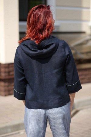 Куртка ОПИСАНИЕ Удобная ветровка в спортивном стиле с капюшоном. На передней части располагаются 2 кармана в швах. Данная модель отлично подходит для «пышных» фигуры.  ХАРАКТЕРИСТИКИ Состав70% лен 30