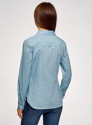 Рубашка базовая из хлопка Синий