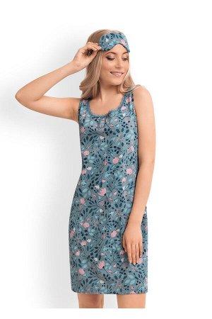 #90776 Сорочка (CLEVER) меланж бирюзовый/т.синий