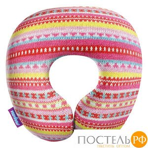 Подушка под шею «Бабушкино вязание» (H2929C1608A116PN, 29х29, Розовый, Кристалл, Микрогранулы полистирола)
