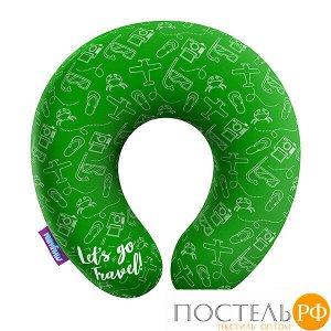 Подушка под шею «Travel» (H2929C2806A005GR, 29x29, Зеленый, Кристалл, Микрогранулы полистирола)