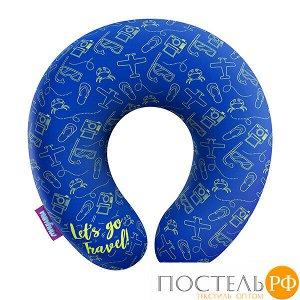 Подушка под шею «Travel» (H2929C2806A006BU, 29x29, Синий, Кристалл, Микрогранулы полистирола)