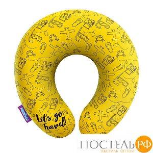 Подушка под шею «Travel» (H2929C2806A008YL, 29x29, Желтый, Кристалл, Микрогранулы полистирола)