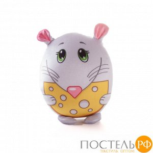 Игрушка «Мышка с сыром» (T2517C3005S001GY, 25x17, Серый, Стрейч бархат, Микрогранулы полистирола)