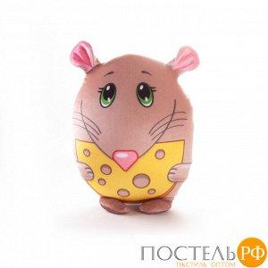 Игрушка «Мышка с сыром» (T2517C3005S001BR, 25x17, Коричневый, Стрейч бархат, Микрогранулы полистирола)