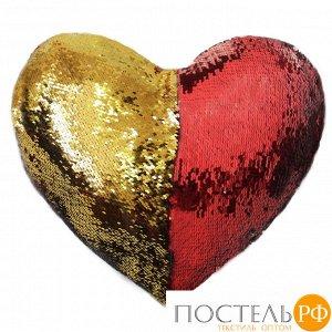 "Подушка с пайетками декор. ""GOOD MOOD"" СЕРДЦЕ цвет:Красное золото,кол-я Magic Shine,арт.Р3455, 1/14 4680046350039"