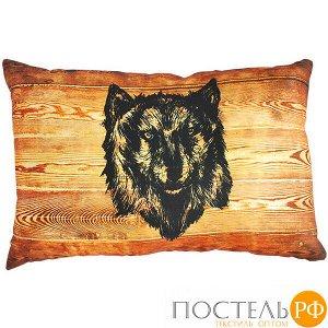 Подушка интерьерная Картина на дереве (В0249, 35х55, Волк, Оранжевый, Атлас, Холлофайбер)