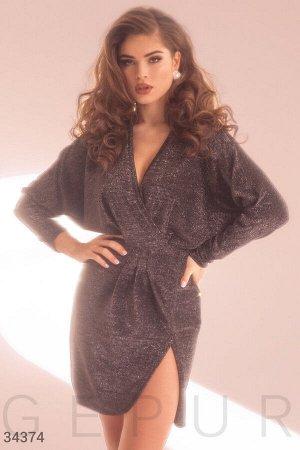 Блестящее платье-мини черного цвета