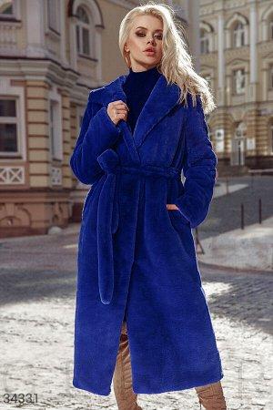 Удлиненная шуба синего цвета Gepur