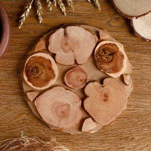 Подставка под горячее «Мозаика из ромбов», D=20 см, разные породы деревьев