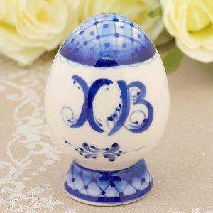 Сувенир «Яйцо» малое, гжель, фарфор, h=9 см