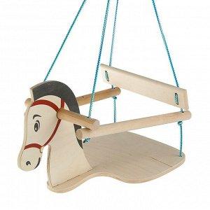 """Качели детские подвесные """"Конь"""", деревянные, сиденье 30?30см"""