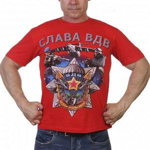 """Красная футболка """"Слава ВДВ"""" – для мужчин сильных духом №9"""