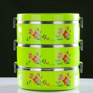 Термос суповой, 3 л, 3 тарелки, ложка, вилка, сохраняет тепло 8 ч, микс, 22.5х19х19 см