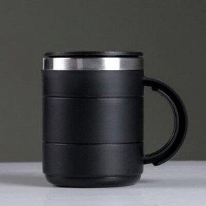 """Термокружка """"Каркан"""" с крышкой, 450 мл, чёрная, 12.5x10.5 см"""