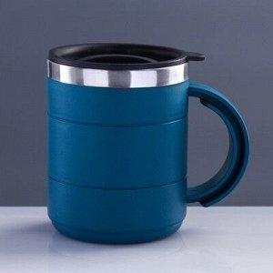 """Термокружка """"Каркан"""" с крышкой, 450 мл, синяя, микс 12.5x10.5 см"""