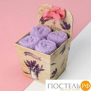 """Набор махровых салфеток """"Lavender"""" 30х30 см-4шт, хлопок, 340 г/м2   4135980"""