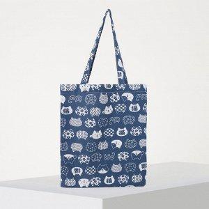 Сумка текстильная, отдел без молнии, без подклада, цвет синий 4608473