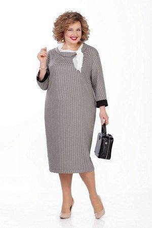 Платье Платье Pretty 1026 серо-бежевая гусиная лапка  Состав ткани: Вискоза-55%; ПЭ-45%;  Рост: 164 см.  Платье из плательно-костюмной с небольшой растяжимостью. На переде обработаны нагрудные вытачк