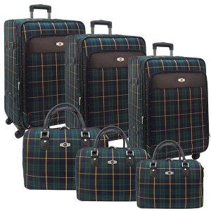 Комплект чемоданов Borgo Antico. 6093 blue-green komplekt. 4 съёмных колеса.