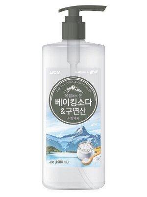LION Средство для мытья посуды Chamgreen с содой и лимонной кислотой, флакон, 600 гр
