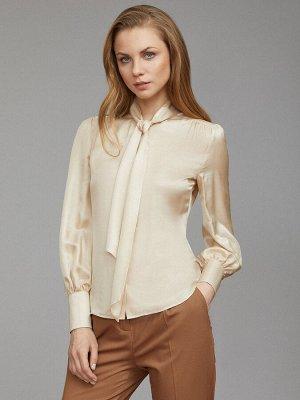 Шелковая блуза с объемными рукавами