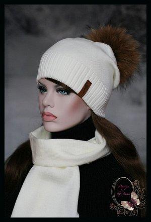 Вязаный комплект Женева(зима)с помпоном из натурального меха енота..(расцветки в ассортименте)