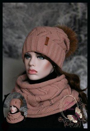 Вязаный набор Зиг-Заг(зима) пудра с помпоном из натурального меха енота..