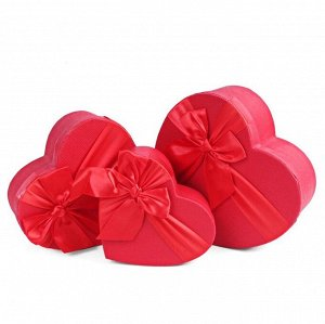 Набор коробок 3в1 сердце 22х18х9 / 20х16х8 / 18х14х7см, с бантом, красный