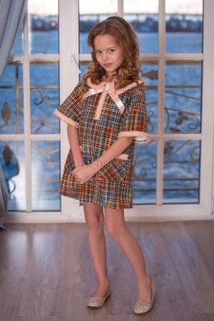 Платье Платье трапецевидного силуэта, из плотной буклированной ткани, полностью на хлопковом подкладе. Молния по спинке.***Замеры платья:р.28, ОГ - 33см*2, длина от плеча 53смр.30, ОГ - 34см*2, длина