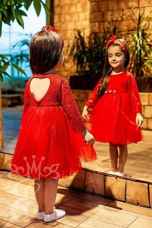 Кружевное платье с фатиновой юбкой Ободок 91078ПОк