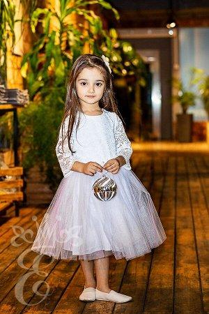 Кружевное платье с фатиновой юбкой 91079П