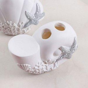 Набор аксессуаров для ванной комнаты «Море», 3 предмета (дозатор 200 мл, мыльница, стакан)
