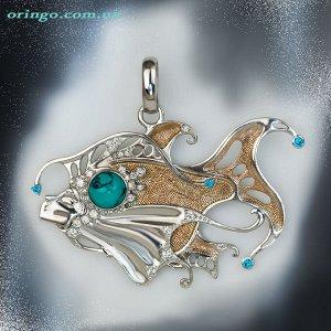 Подвес Лунная рыба (с цветными камнями), Бирюза