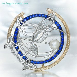 Брошь Райская птица (цветные камни), Жемчуг белый