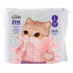 """Ультратонкие дышащие прокладки """"Secretday Sense Large"""", 10 шт. (28 см.) Корея"""