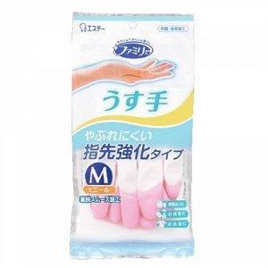 """""""ST"""" """"Family"""" Перчатки для бытовых и хозяйственных нужд, винил, тонкие,  M (розовые) 30см"""