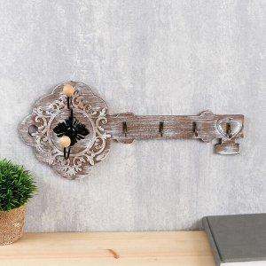 """Крючки декоративные дерево """"Старинный ключ"""" 18х40х6,5 см 4650557"""